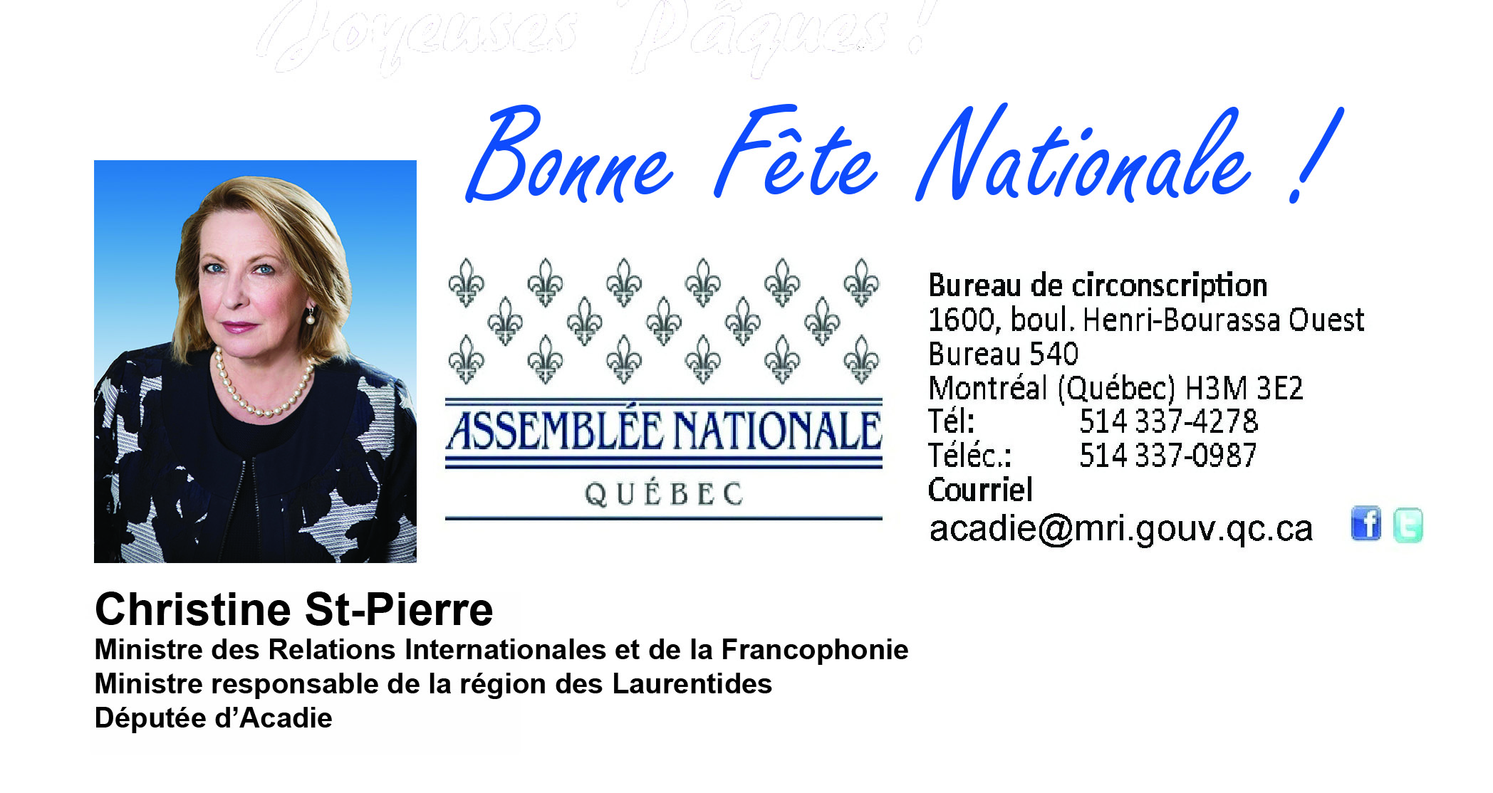 Christine St-Pierre / Fête nationale